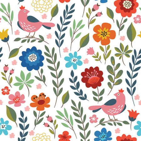 floral seamless pattern  イラスト・ベクター素材