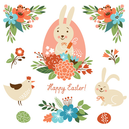 Collection of Vintage Easter illustrations. Good for cards Vector