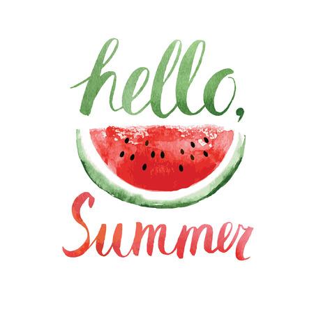 de zomer: hello de zomer, aquarel belettering met watermeloen