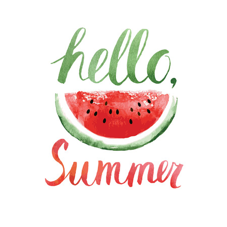 type lettering: hello summer,watercolor  lettering with watermelon