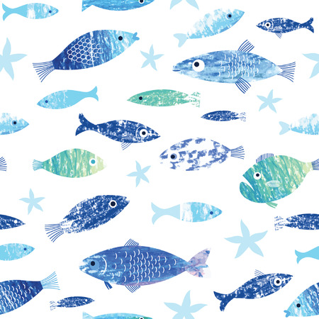 seamless pattern with painted fishes