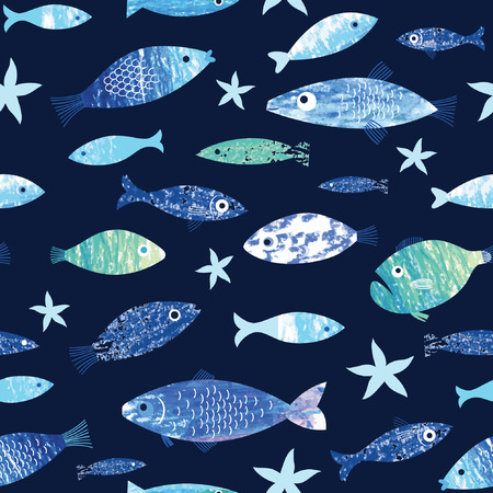 marine life: seamless pattern with painted fishes