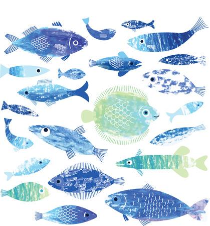 Conjunto de arte de peixe Foto de archivo - 37892747