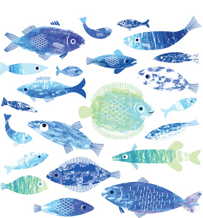 at sea: set of fish art