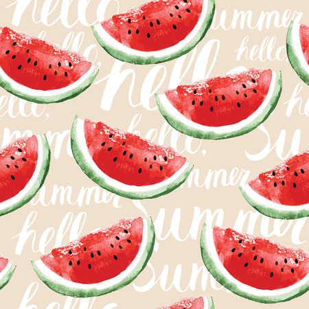 Watercolor seamless pattern with watermelons  イラスト・ベクター素材