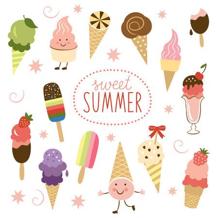 helados caricatura: vector del helado, colección dulce