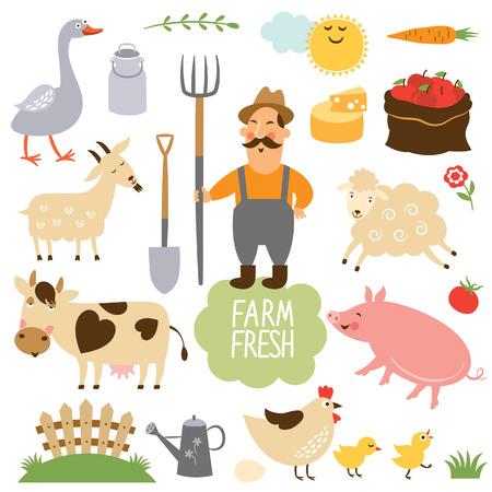 動物: 設置農場動物和相關項目的矢量插圖 向量圖像