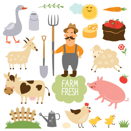 set of vector illustration of farm animals and related items