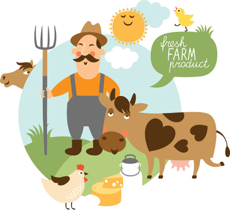 cowboy cartoon: vector illustration on a farming theme