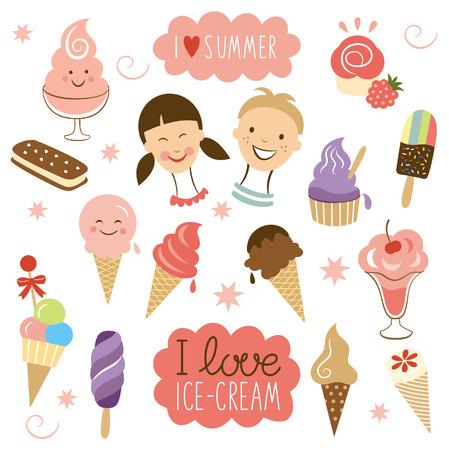 vanilla ice cream: vector Ice Cream, sweet collection