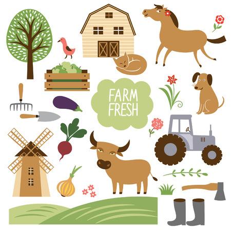 animales de granja: conjunto de ilustración vectorial de los animales de granja y artículos relacionados