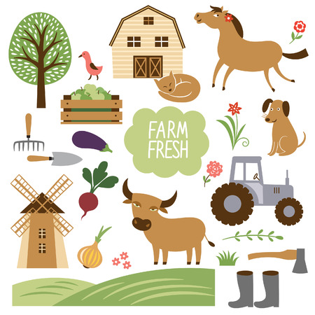 farm animals: set of vector illustration of farm animals and related items