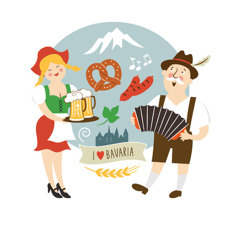 german tradition: Oktoberfest label Bavarian man and waitress with beer