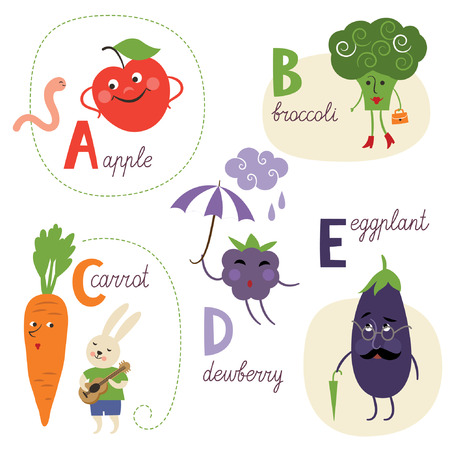 dewberry: english alphabet with fruits and vegetables