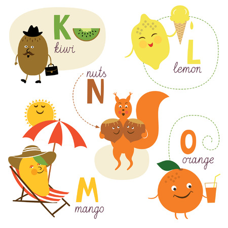 mango: english alphabet with fruits and vegetables