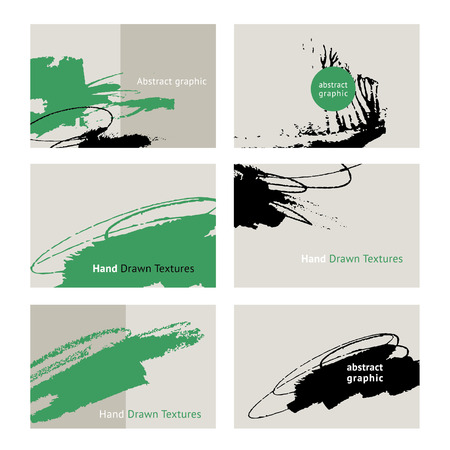 brush stroke: Set of creative cards with abstract graphic .Hand Drawn textures.