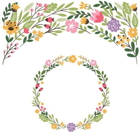 Conjunto de elementos gráficos, marco floral, el lugar de texto Foto de archivo - 43431060