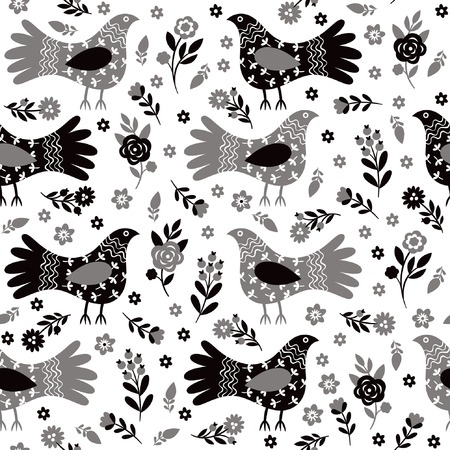etnic: Black and white floral seamless pattern
