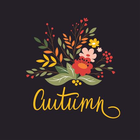 Autumn wreath on black background