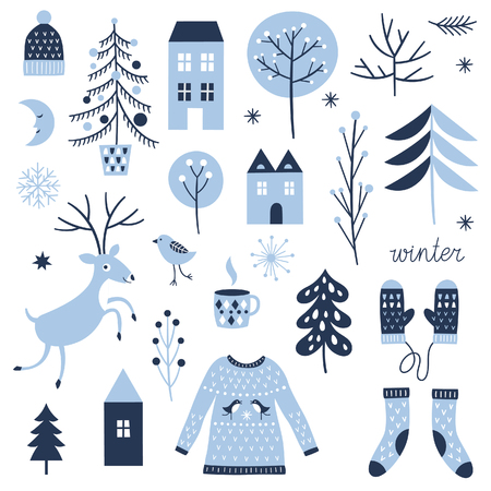 Set of Christmas graphic elements, collection design elements, vector images