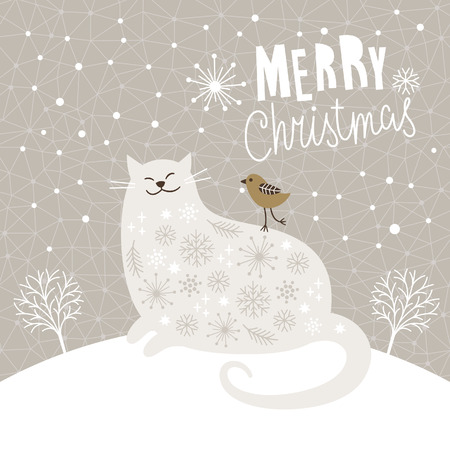 Cute big cat and little bird, Christmas vector illustration, Christmas card