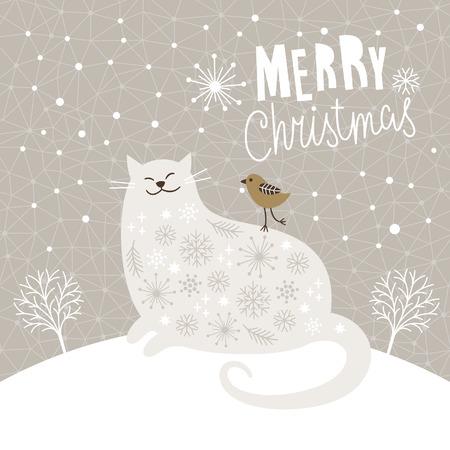 Cute big cat and little bird, Christmas vector illustration, Christmas card
