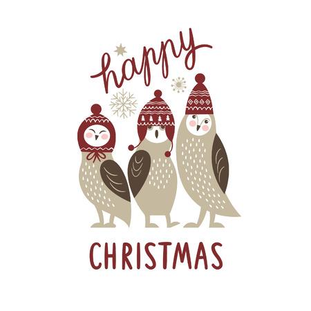 Happy Christmas card, three cute owls