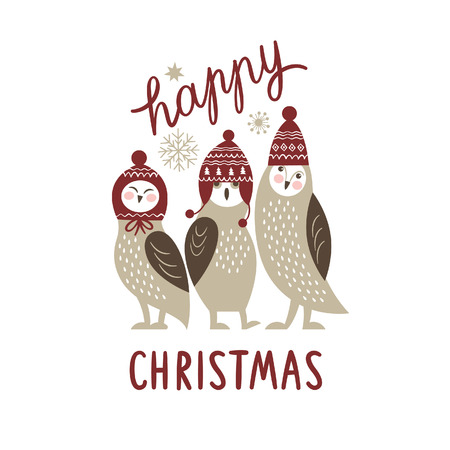 Happy Christmas card, three cute owls