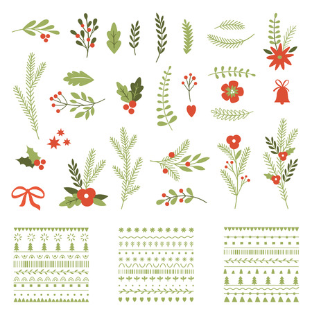 decorated christmas tree: Set of Christmas graphic elements and ornaments