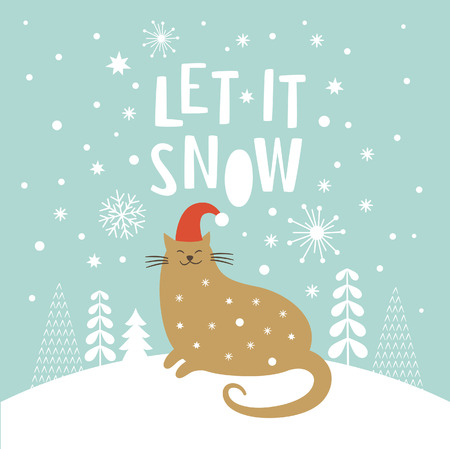 Cute cat in red hat, Christmas vector illustration, Let it snow lettering, Christmas card