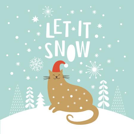 Nette Katze im roten Hut, Weihnachten Vektor-Illustration, Let it snow Schriftzug, Weihnachtskarte Illustration