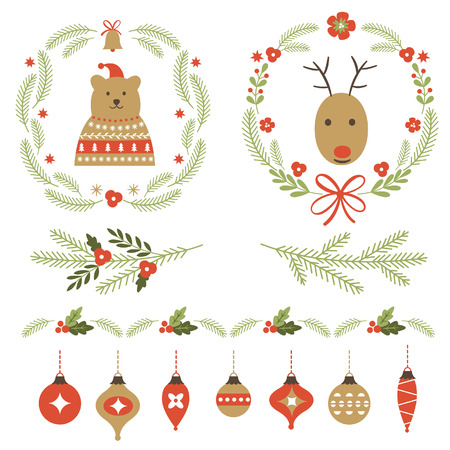 seer: Set of Christmas graphic elements and ornaments