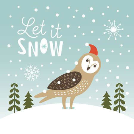 christmas owl: Let It Snow, Christmas Illustration