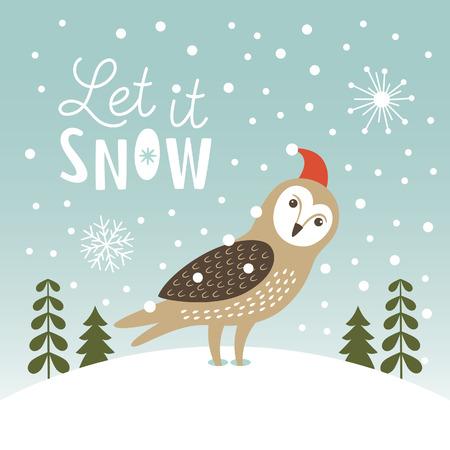 bird: Let It Snow, Christmas Illustration