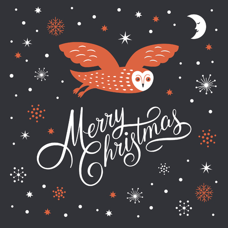 Merry Christmas Lettering, Christmas Illustration