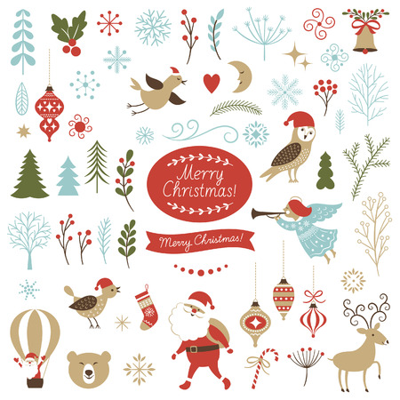 retro christmas: Big Set of Christmas graphic elements