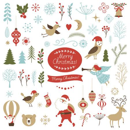 Duży zestaw elementów graficznych Bożego Narodzenia Ilustracje wektorowe