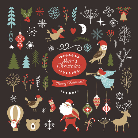 Big Set of Christmas graphic elements on a black background, collection design elements, vector images 矢量图像