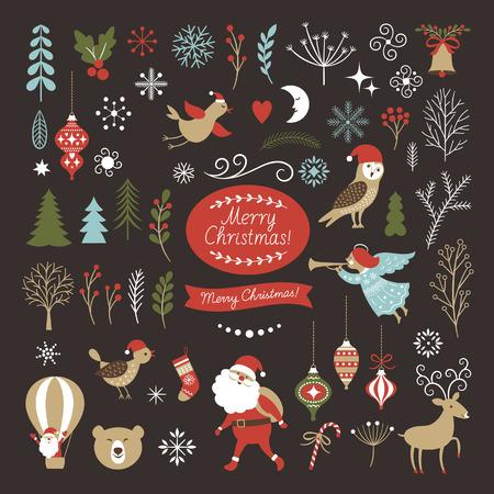 Big Set of Christmas graphic elements on a black background, collection design elements, vector images Illustration