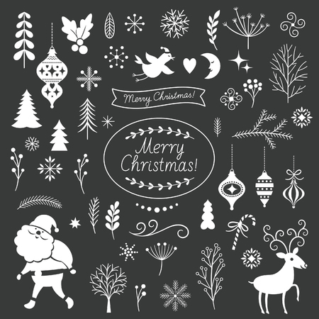 lments graphiques: Set of Christmas graphic elements on a black background, collection design elements, vector images Illustration