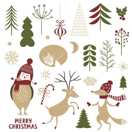 arbol pájaros: Ejemplos de la Navidad. Conjunto de elementos gráficos y caracteres lindos.