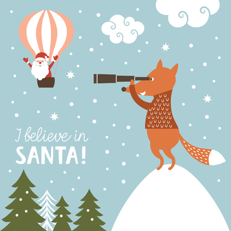clause: Christmas illustration, I Believe in Santa Clause Illustration