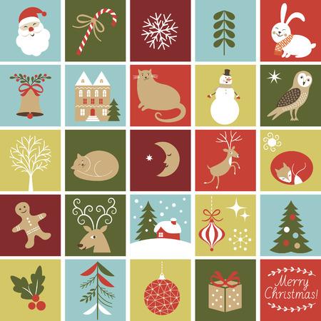 Set Pictogrammen voor creëren Adventskalender, Kerst Illustraties en Karakters, leuke vos, uil, kat, Santa, peperkoek man, konijn, rendieren