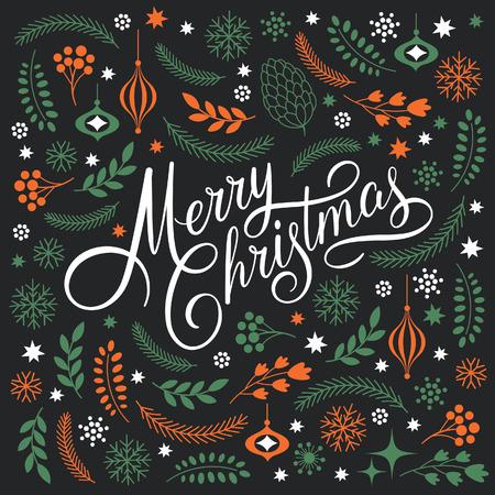 joyeux noel: Joyeux Noël Lettrage sur un fond noir Illustration