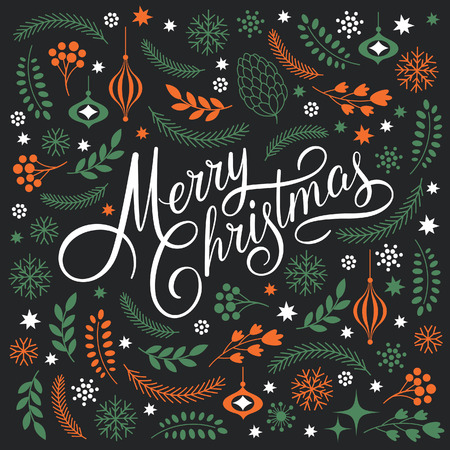 elegant christmas: Merry Christmas Lettering on a black background Illustration