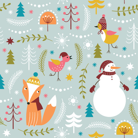 christmas cute: Christmas vector illustration, seamless Christmas pattern Illustration