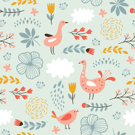floral seamless pattern with birds Vectores