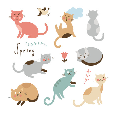 cartoon human: Set of cute cats. Cartoon cats in various poses