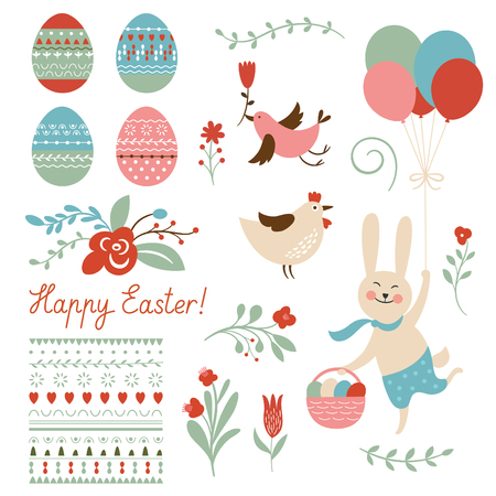 chik: Happy easter graphic elements