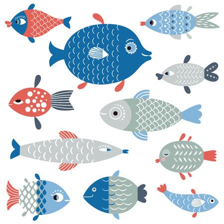 Ensemble de l'art de poissons, le style plat illustration Banque d'images - 54418158